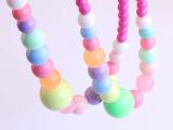 饰品厂家供应韩版 儿童项链 彩色树脂项链 彩珠项链 果冻色项链