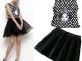 2014欧洲站女装新款 欧美大牌娃娃头刺绣波点上衣短裙套装 代发