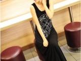 2014春新款女装 印花莫代尔背心裙女宽松大码连衣裙拖地长裙