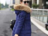 2014冬季新款大毛领羽绒服 韩版桃皮绒中长款羊羔毛羽绒棉服外套