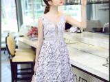2015夏季新款女装背心裙镂空蕾丝裙V领收腰长裙连衣裙 一件代发