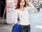 2014春季新款百搭韩版订珠长袖修身显瘦女士纯色圆领t恤打底衫