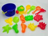 地摊沙滩玩具桶套装 小号铲沙滩玩具16件套 夏季沙滩戏水益智玩具