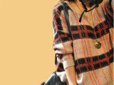 厂家直销2013秋季学院风格子蝙蝠袖宽松长袖外套毛衣女针织衫