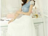 批发2014春夏新款韩版时尚女装牛仔拼接雪纺连衣裙长裙