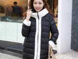 2014秋冬新款女式羽绒棉衣 韩版修身普通款连帽呢子拼接羽绒棉服