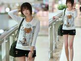 YB6--系列新款女装韩版上衣白色修身可爱紧身纯棉长袖T恤打底衫