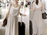 韩国东大门新款 拼接格子假两件雪纺长裙无袖背心连衣裙