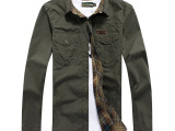 3332春款AFS jeep男士格子长袖衬衫 双面穿长袖水洗宽松