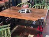 定制无烟净化大理石火锅桌子电磁炉一体三不牛腩潮鲜火锅桌椅商用