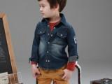 2013秋装新款牛仔童装衬衫 韩版男童字母牛仔衬衫 厂家直销