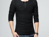 欧洲站冬季男士加厚加绒T恤v领韩版修身打底衫气质保暖棉T男上衣