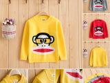 可比贝童装秋冬新款 韩版圆领套头加厚长袖卡通头像 中小童毛衣