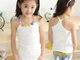 女童装2014夏装新款中大童公主无袖打底衫吊带衫韩版儿童工字背心
