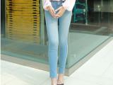 厂家供应版型超好 时尚简约百搭修身松紧腰小脚裤牛仔长裤铅笔裤