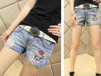 2015夏季新款牛仔短裤 潮款时尚修身卡通显瘦磨破女装牛仔裤