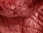 皮棉衣毛领个人闲置秋冬收腰中长款側拉链免洗皮粉色