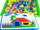 盒装296粒蘑菇钉益智拼插玩具蘑菇丁塑料拼图拼板益智玩具2-7岁