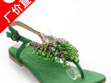 专柜正品成都女鞋 手工串珠平底凉鞋真皮批发 鞋子一件代发货免费