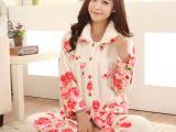 秋冬季新款女士长袖加厚睡衣法兰绒开衫玫瑰花珊瑚绒家居服