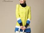 芙洛缇薇2014女装时尚秋冬新款 大牌拼色修身双排扣三色羊毛大衣