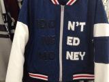 东大门新款女装外套 同步牛仔拼皮袖超帅气棒球服夹棉外套
