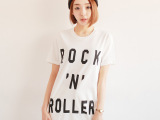 宽松大码女装短袖t恤女2014夏季新款韩版中长款字母印花t恤批发