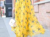 2014春夏显瘦仙女半身长裙大摆百褶纱裙欧美拖地雪纺半身裙长裙子