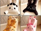 韩国可爱卡通熊猫兔兔汽 U型颈枕 腰枕靠枕 汽车腰靠一套价格