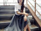 雪纺网纱连衣裙中长款2015春夏品牌女装韩版短袖两件套装裙批发