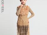 2015欧洲站品牌大码春夏女装 欧美蕾丝纯色两件套针织连衣裙#5