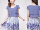 大码雪纺连衣裙 免费代理网上开店 女装高档碎花裙子 专柜品质