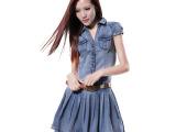 2014夏装新款 韩版  学院风潮短袖修身百褶裙牛仔连衣裙 广州