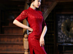 新款时尚连衣裙复古改良旗袍裙修身显瘦优雅气质礼服长款蕾丝旗袍
