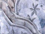 花边蕾丝领口珠片绣,珠片绣边雪纺布纱布绣花加工,特种绣花