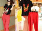 2014新款欧洲站唇膏口红亮片短袖T恤哈伦红色长裤休闲2件套装