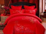 高档婚庆床上用品纯棉六件套大红色韩版贡缎