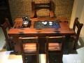 石河子市老船木茶桌椅子仿古茶台实木沙发茶几餐桌办公桌家具案台