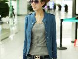 日韩 秋装新款女装纯色立领肩章双排扣短外套  长袖外套批6色4码