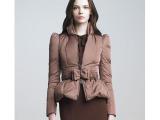 欧美大牌同款修身蝴蝶结腰带修身羽绒服短款时尚羽绒服样衣