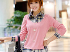 2014秋装新款女装假两件套韩版长袖格子衬衣上衣C5TX453