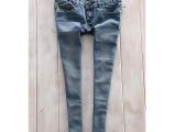 外贸女裤  女式七分小脚牛仔裤 复古 弹力小脚铅笔裤