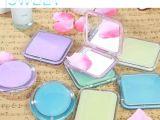 糖果色亚克力折叠圆形化妆镜 双面放大小镜