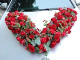 红玫瑰鲜花婚礼花车现场布置大V鲜花婚礼布置永结同心鲜花