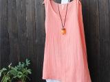 2015夏装新款百搭棉麻文艺中长打底衫小背心 宽松打底吊带衫