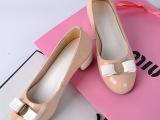 2014春秋新款真皮单鞋 韩版圆头中跟粗跟鞋花朵金属女鞋厂家直销