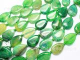 DIY手链配饰品 天然绿色玛瑙散珠批发 水滴龙纹玛瑙石原石批发