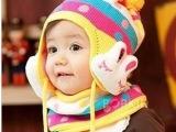 韩版秋冬儿童帽子围巾两件套 宝宝帽毛线帽童帽子