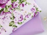 韩式纯棉斜纹全棉印花田园碎花床品布料手工面料批发 紫色花园