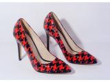 2014春新款女鞋 欧美外贸原单千鸟格漆皮尖头浅口高跟单鞋 代发